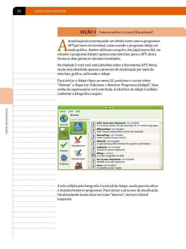 """ATUALIZAÇÃO DO LINUX EDUCACIONAL 4.0   51Ao clicar no botão """"Edit Software Sources"""" (Editar fontes de software),aparecerá ..."""