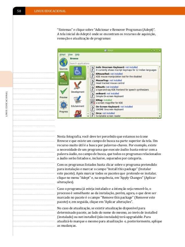 INSTALAÇÃO DE PROGRAMAS EM AMBIENTE LINUX                                                                         59I N S ...