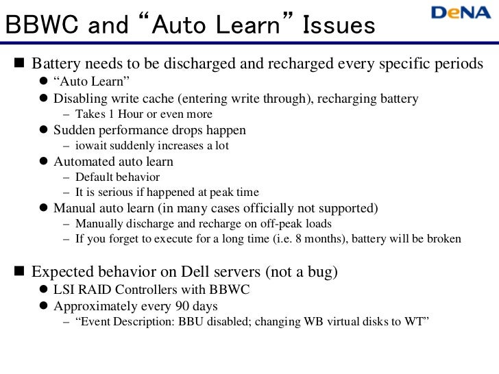 """BBWC and """"Auto Learn"""" Issues  Battery needs to be discharged and recharged every specific periods     """"Auto Learn""""     Dis..."""