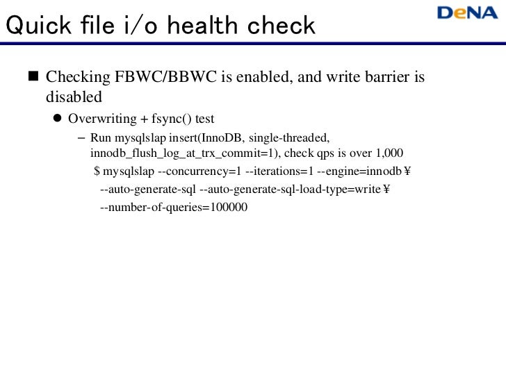 Quick file i/o health check   Checking FBWC/BBWC is enabled, and write barrier is   disabled     Overwriting + fsync() tes...