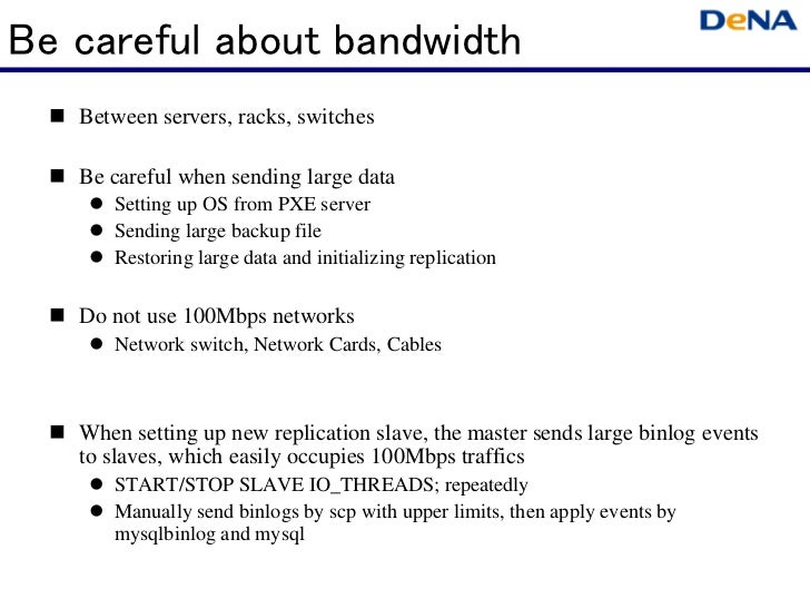 Be careful about bandwidth   Between servers, racks, switches   Be careful when sending large data      Setting up OS from...