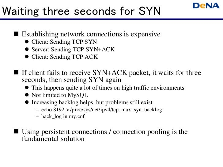 Waiting three seconds for SYN   Establishing network connections is expensive      Client: Sending TCP SYN      Server: Se...