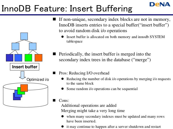 InnoDB Feature: Insert Buffering                         If non-unique, secondary index blocks are not in memory,         ...