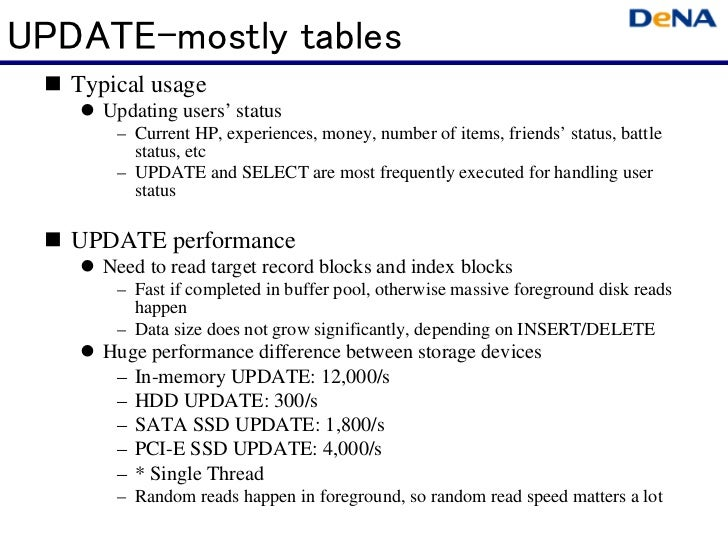 UPDATE-mostly tables   Typical usage      Updating users' status       – Current HP, experiences, money, number of items, ...