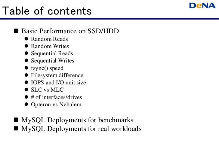 Table of contents   Basic Performance on SSD/HDD     Random Reads     Random Writes     Sequential Reads     Sequential Wr...