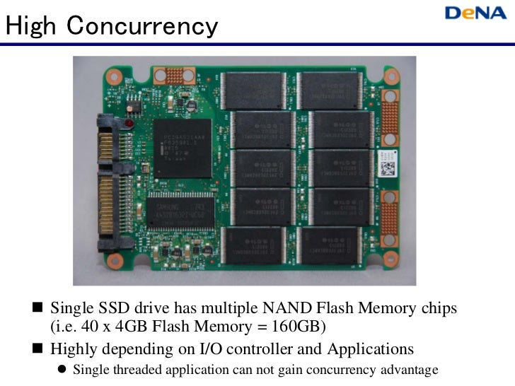 High Concurrency   Single SSD drive has multiple NAND Flash Memory chips   (i.e. 40 x 4GB Flash Memory = 160GB)   Highly d...