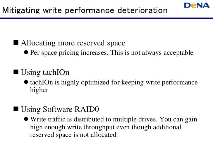 Mitigating write performance deterioration    Allocating more reserved space       Per space pricing increases. This is no...