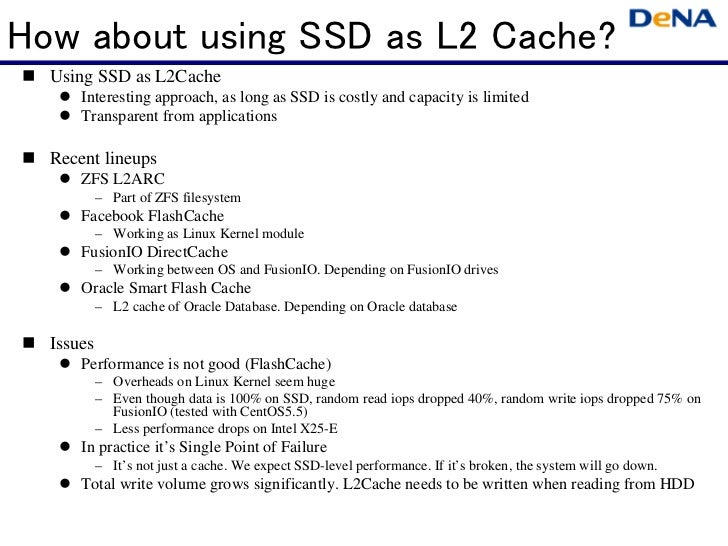 How about using SSD as L2 Cache?  Using SSD as L2Cache      Interesting approach, as long as SSD is costly and capacity is...