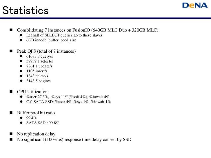 Statistics   Consolidating 7 instances on FusionIO (640GB MLC Duo + 320GB MLC)        Let half of SELECT queries go to the...