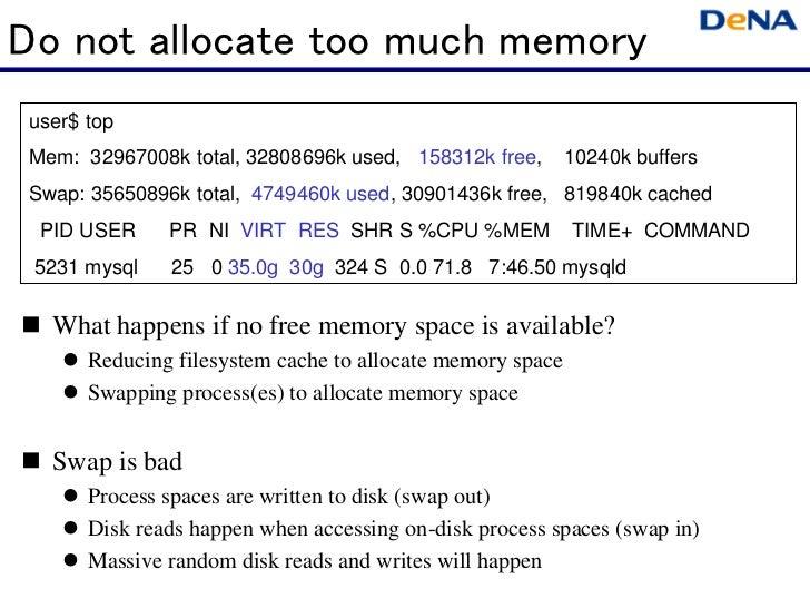 Do not allocate too much memory user$ top Mem: 32967008k total, 32808696k used, 158312k free,        10240k buffers Swap: ...