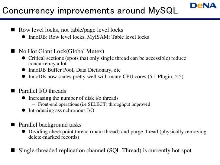 Concurrency improvements around MySQL   Row level locks, not table/page level locks       InnoDB: Row level locks, MyISAM:...