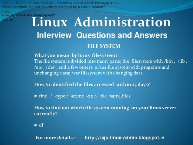 linux system admin interview questions and answers pdf