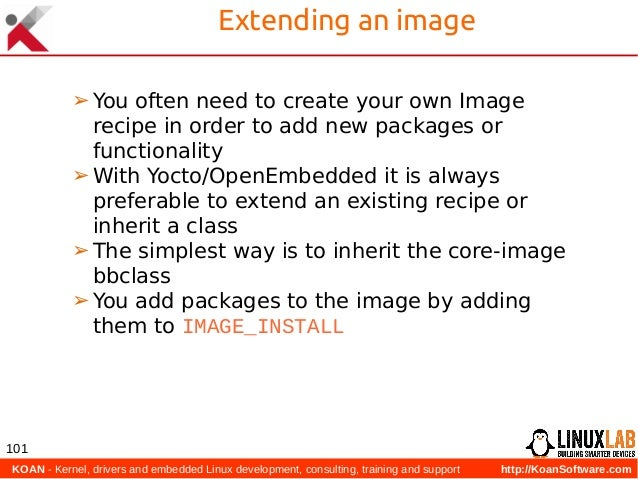 KOAN - Kernel, drivers and embedded Linux development, consulting, training and support http://KoanSoftware.com 101 Exten...