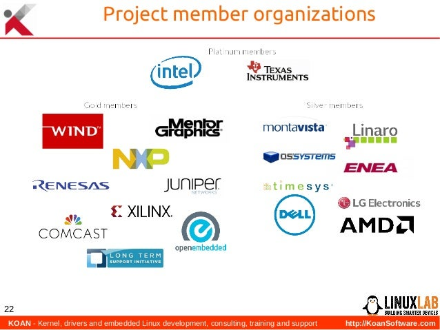 KOAN - Kernel, drivers and embedded Linux development, consulting, training and support http://KoanSoftware.com 22 Projec...