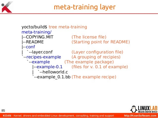 KOAN - Kernel, drivers and embedded Linux development, consulting, training and support http://KoanSoftware.com 85 meta-t...
