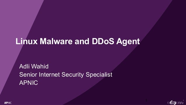 1 Linux Malware and DDoS Agent Adli Wahid Senior Internet Security Specialist APNIC 1