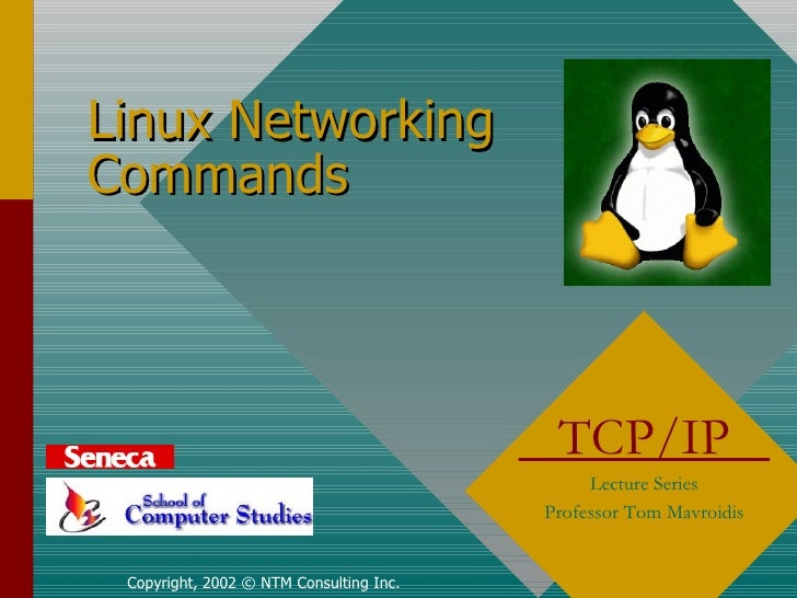 Linux Networking Commands Copyright, 2002 © NTM Consulting Inc. TCP/IP  Lecture Series Professor Tom Mavroidis