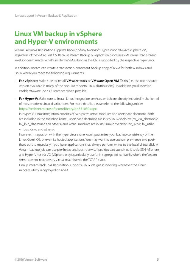 The integration between Veeam and Linux