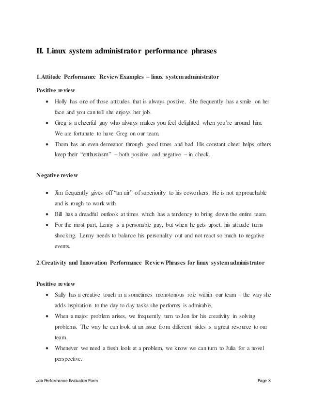 job performance evaluation form page 8 ii linux system administrator linux administrator job description
