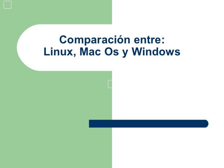 Comparación entre: Linux, Mac Os y Windows