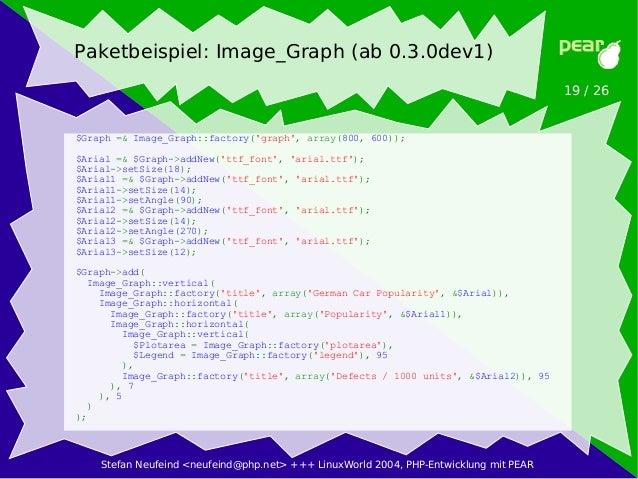 Stefan Neufeind <neufeind@php.net> +++ LinuxWorld 2004, PHP-Entwicklung mit PEAR 19 / 26 Paketbeispiel: Image_Graph (ab 0....