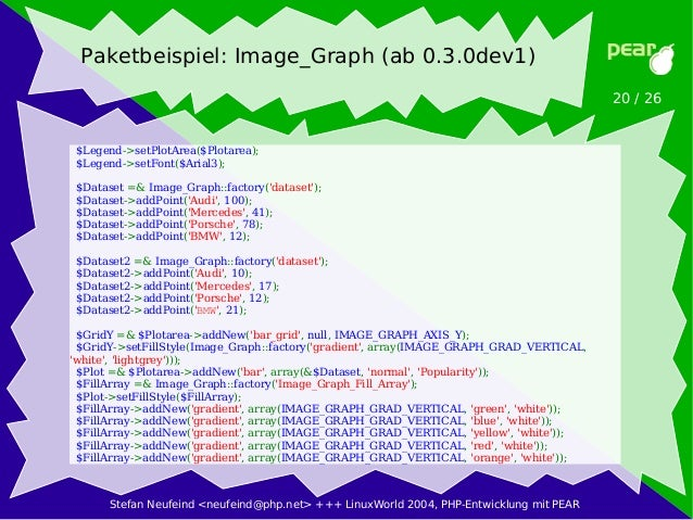 Stefan Neufeind <neufeind@php.net> +++ LinuxWorld 2004, PHP-Entwicklung mit PEAR 20 / 26 Paketbeispiel: Image_Graph (ab 0....