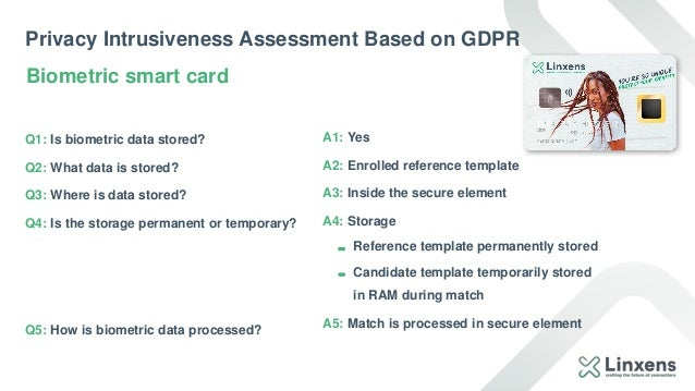 Privacy Intrusiveness Assessment Based on GDPR Q1: Is biometric data stored? Q2: What data is stored? Q3: Where is data st...
