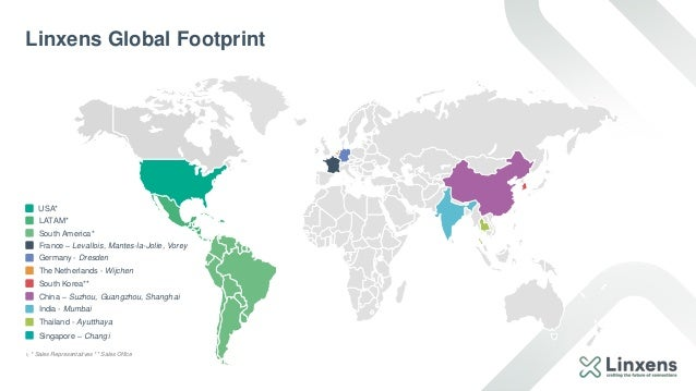 1) * Sales Representatives ** Sales Office Linxens Global Footprint South America* France – Levallois, Mantes-la-Jolie, Vo...