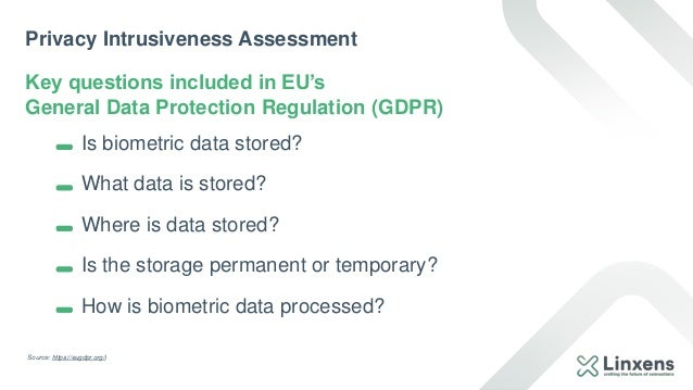 Privacy Intrusiveness Assessment Key questions included in EU's General Data Protection Regulation (GDPR) Source: https://...