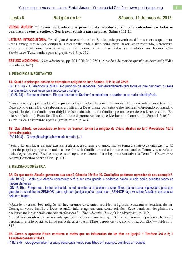 1Clique aqui e Acesse mais no Portal Jaspe – O seu portal Cristão. | www.portaljaspe.orgLição 6 Religião no lar Sábado, 11...