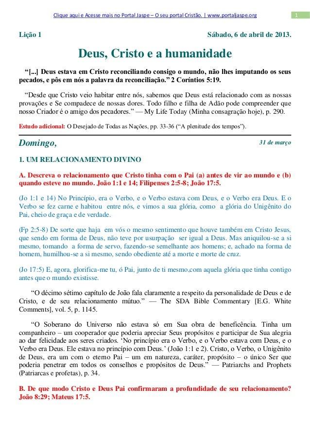 Clique aqui e Acesse mais no Portal Jaspe – O seu portal Cristão. | www.portaljaspe.org                 1Lição 1          ...