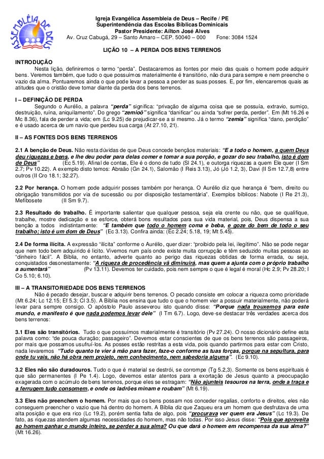 Igreja Evangélica Assembleia de Deus – Recife / PE Superintendência das Escolas Bíblicas Dominicais Pastor Presidente: Aíl...