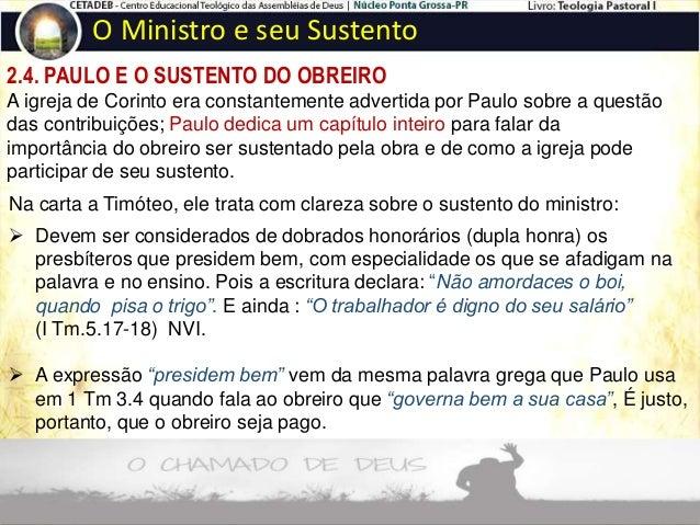 """2.5. AS FIGURAS QUE PAULO USOU PARA FALAR DO SUSTENTO DO OBREIRO O Ministro e seu Sustento O pecuarista. """"Ou quem apascent..."""
