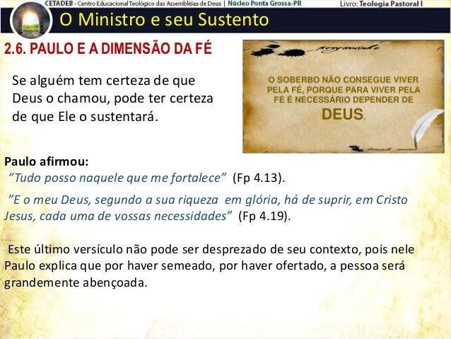 2.7. PAULO E A LEI DA SEMEADURA O Ministro e seu Sustento  A sementeira tem dois aspectos: O primeiro é o grão que o agri...