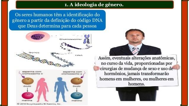 1. A ideologia de gênero. Os seres humanos têm a identificação do gênero a partir da definição do código DNA que Deus dete...