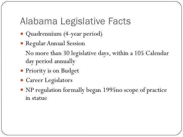 Alabama Legislative Facts <ul><li>Quadrennium (4-year period) </li></ul><ul><li>Regular Annual Session </li></ul><ul><li>N...