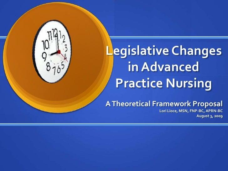 Legislative Changes in Advanced Practice Nursing<br />A Theoretical Framework Proposal<br />Lori Lioce, MSN, FNP-BC, APRN-...