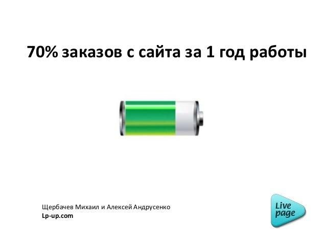 70% заказов с сайта за 1 год работы Щербачев Михаил и Алексей Андрусенко Lp-up.com