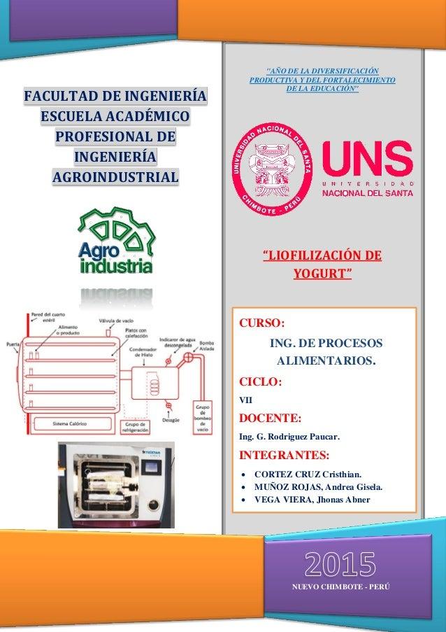 INGENIERA DE PROCESOS ALIMENTARIOS 1 FACULTAD DE INGENIERÍA ESCUELA ACADÉMICO PROFESIONAL DE INGENIERÍA AGROINDUSTRIAL NUE...