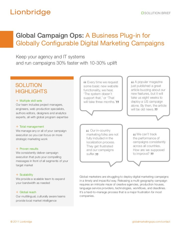 SOLUTION BRIEF    Global Campaign Ops: A Business Plug-in for    Globally Configurable Digital Marketing Campaigns    Keep...
