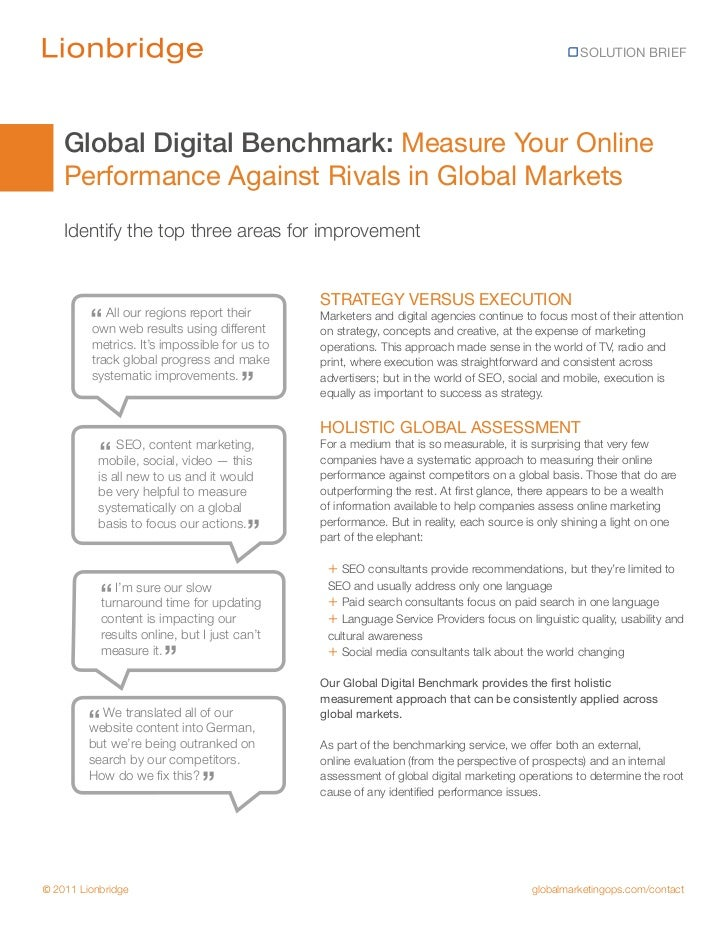 SOLUTION BRIEF    Global Digital Benchmark: Measure Your Online    Performance Against Rivals in Global Markets    Identif...