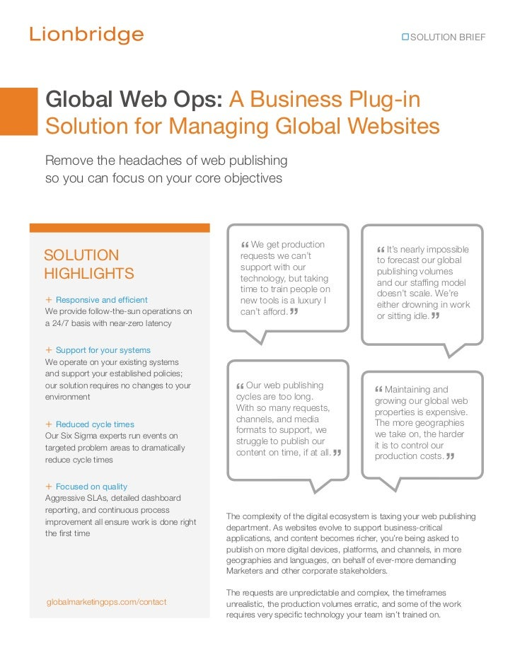 SOLUTION BRIEFGlobal Web Ops: A Business Plug-inSolution for Managing Global WebsitesRemove the headaches of web publishin...