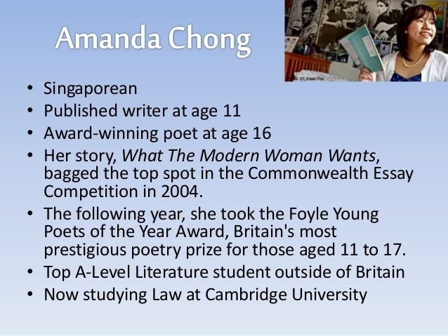 amanda chong essay The author amanda chong, a 15-yr old girl at the time, won the commonwealth (2004) essay prize for the above courtesy: dr sekhar warrier so fellow friends, save enough for your old age and don't try to rely on your children.