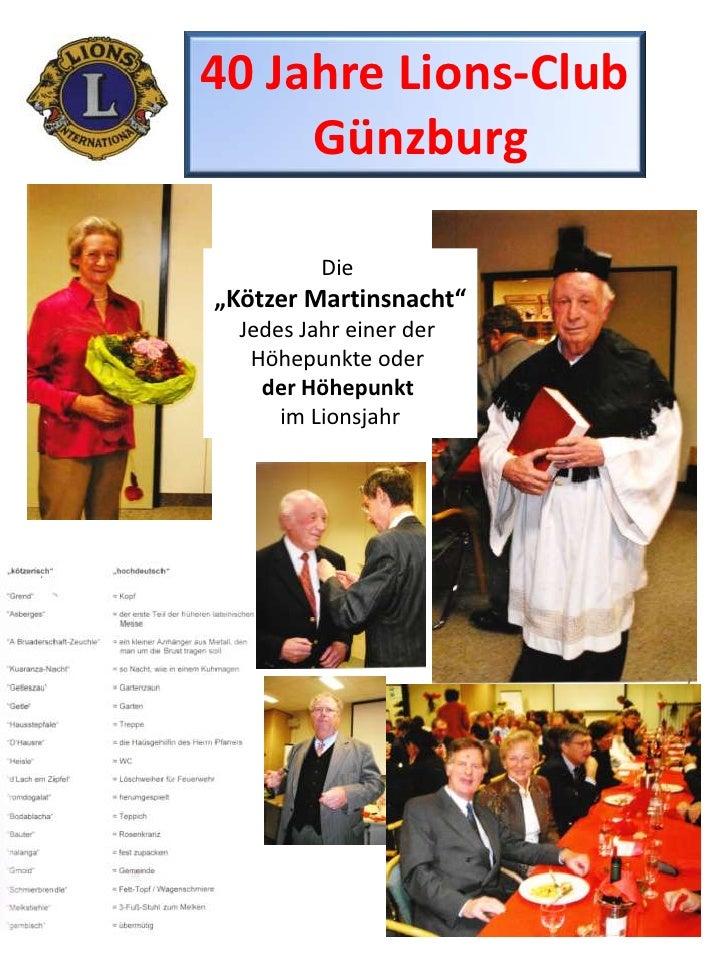"""40 Jahre Lions-Club<br />Günzburg<br />Die <br />""""Kötzer Martinsnacht""""<br />Jedes Jahr einer der <br />Höhepunkte oder <br..."""