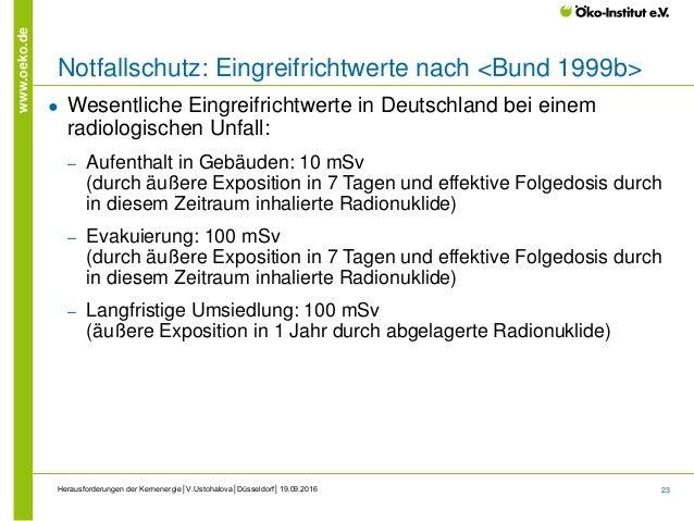 23 www.oeko.de Herausforderungen der Kernenergie│V.Ustohalova│Düsseldorf│19.09.2016 Notfallschutz: Eingreifrichtwerte nach...