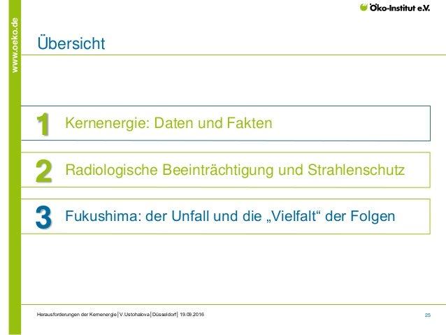25 www.oeko.de Herausforderungen der Kernenergie│V.Ustohalova│Düsseldorf│19.09.2016 Übersicht 1 Kernenergie: Daten und Fak...