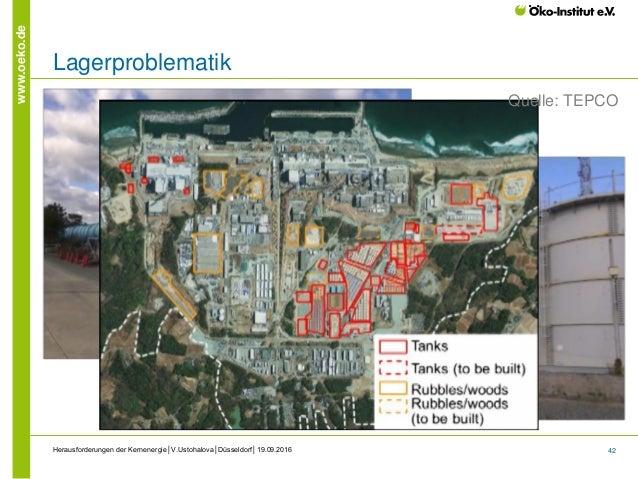 42 www.oeko.de Herausforderungen der Kernenergie│V.Ustohalova│Düsseldorf│19.09.2016 Lagerproblematik Quelle: TEPCO