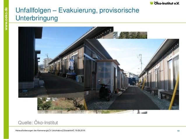 48 www.oeko.de Herausforderungen der Kernenergie│V.Ustohalova│Düsseldorf│19.09.2016 Unfallfolgen – Evakuierung, provisoris...