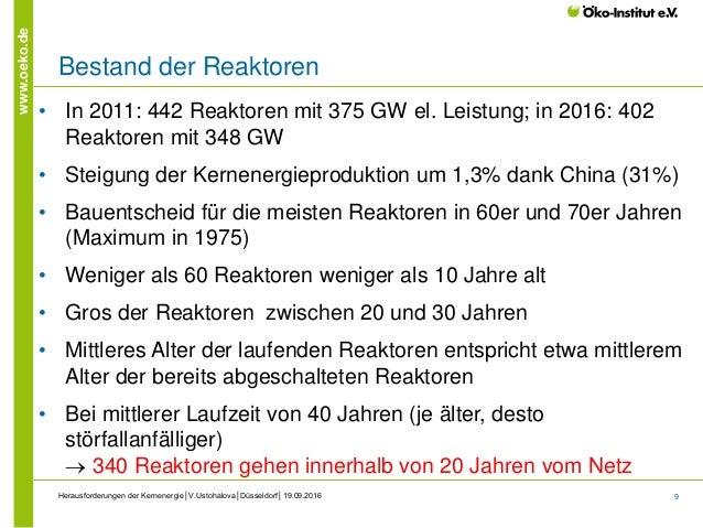 9 www.oeko.de Bestand der Reaktoren Herausforderungen der Kernenergie│V.Ustohalova│Düsseldorf│19.09.2016 • In 2011: 442 Re...