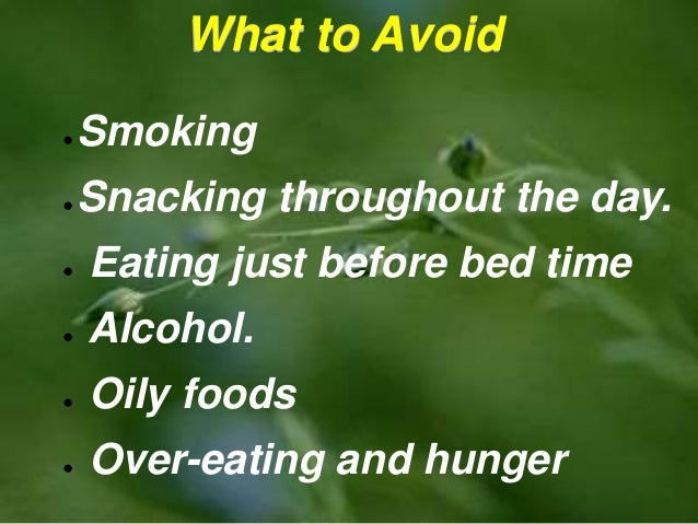 Eating Oily Foods Before Bed